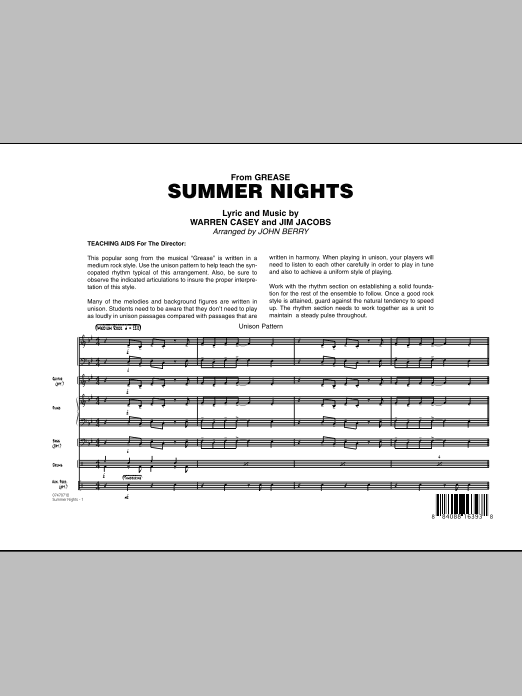 Summer Nights (from Grease) - Full Score (Jazz Ensemble)