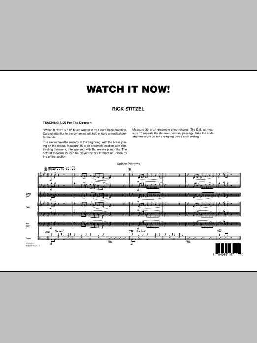 Watch It Now! (COMPLETE) sheet music for jazz band by Rick Stitzel. Score Image Preview.