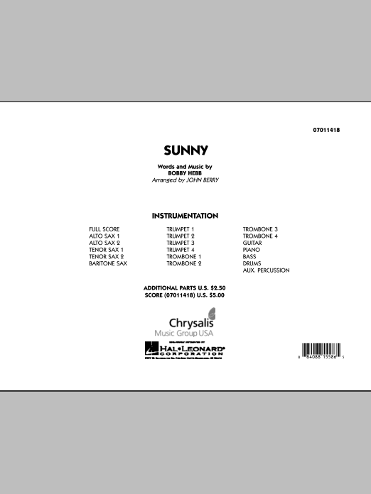 Sunny (COMPLETE) sheet music for jazz band by John Berry and Bobby Hebb. Score Image Preview.
