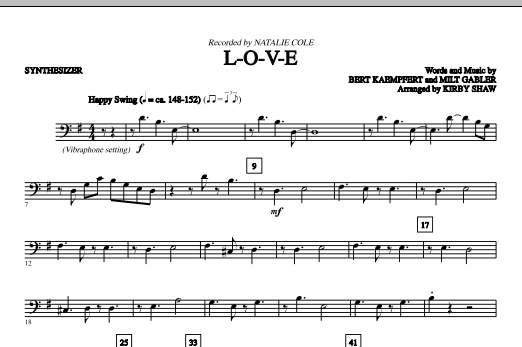 L-O-V-E (complete set of parts) sheet music for orchestra/band (Rhythm) by Kirby Shaw, Bert Kaempfert, Milt Gabler and Natalie Cole. Score Image Preview.