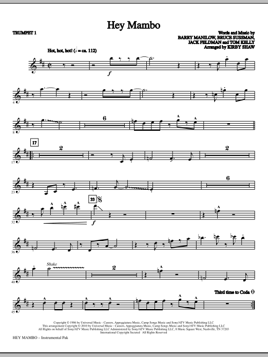 Hey Mambo (complete set of parts) sheet music for orchestra/band (chamber ensemble) by Kirby Shaw and Barry Manilow. Score Image Preview.
