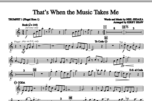 That's When The Music Takes Me (complete set of parts) sheet music for orchestra/band (chamber ensemble) by Kirby Shaw and Neil Sedaka. Score Image Preview.