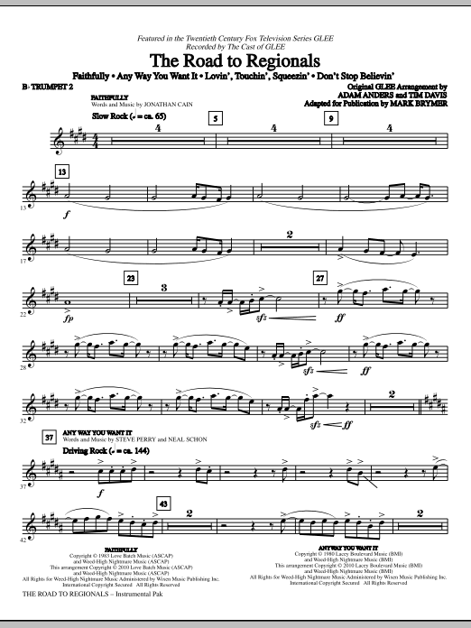 The Road To Regionals (featured on Glee) - Bb Trumpet 2 (Choir Instrumental Pak)