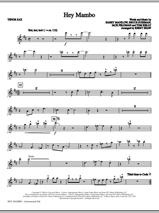 Hey Mambo - Tenor Sax (Choir Instrumental Pak)