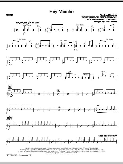 Hey Mambo - Drums (Choir Instrumental Pak)