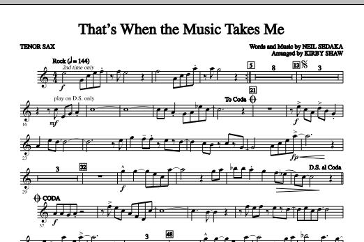 That's When The Music Takes Me - Tenor Sax (Choir Instrumental Pak)