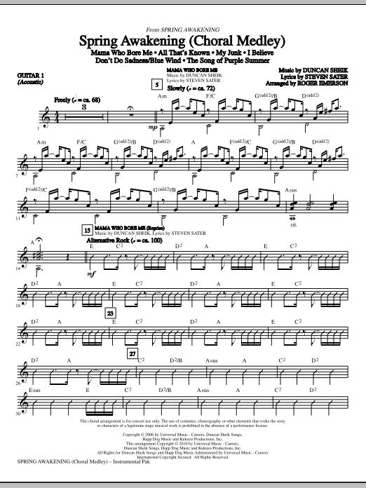 Spring Awakening (Choral Medley) - Guitar 1 Partituras Digitales