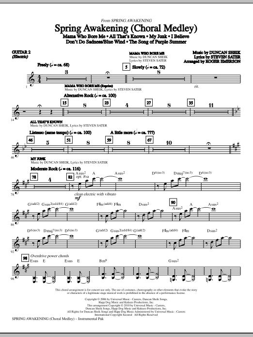 Spring Awakening (Choral Medley) - Guitar 2 (Choir Instrumental Pak)
