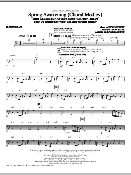 Spring Awakening (Choral Medley) - Bass Partition Digitale