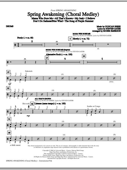 Spring Awakening (Choral Medley) - Drums Partituras Digitales