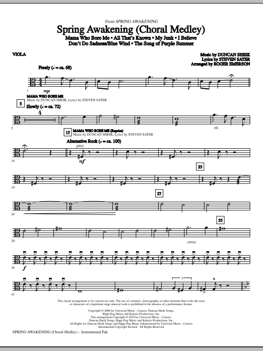 Spring Awakening (Choral Medley) - Viola (Choir Instrumental Pak)
