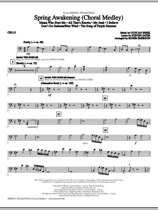 Spring Awakening (Choral Medley) - Cello (Choir Instrumental Pak)