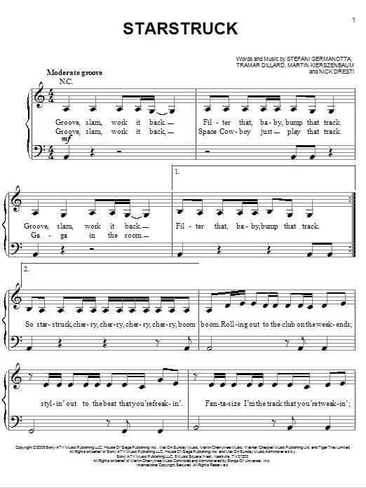 Partition piano Starstruck de Lady GaGa - Piano Facile