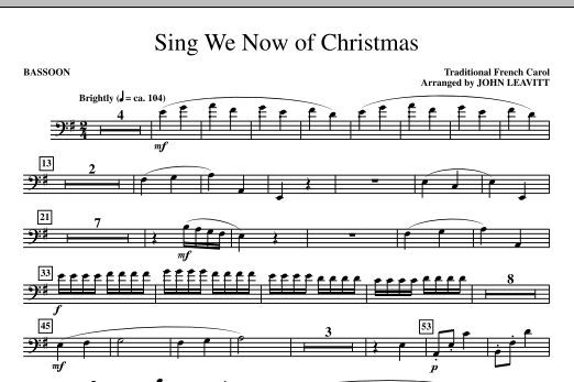 Sing We Now Of Christmas (complete set of parts) sheet music for orchestra/band (chamber ensemble) by John Leavitt and Miscellaneous. Score Image Preview.