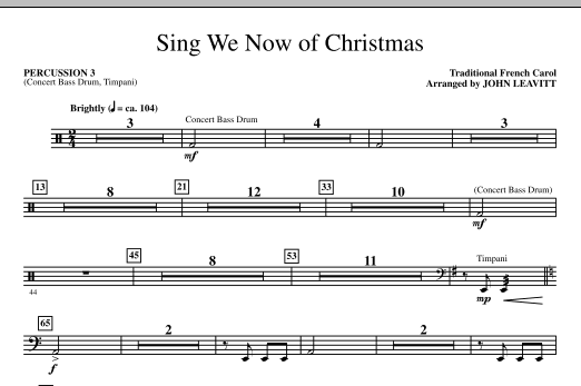 Sing We Now Of Christmas - Percussion 3 (Choir Instrumental Pak)