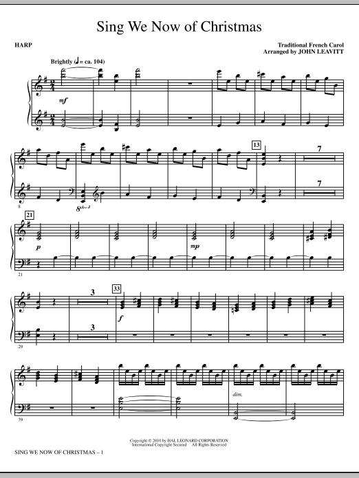 Sing We Now Of Christmas - Harp (Choir Instrumental Pak)
