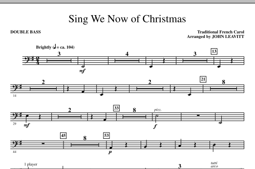 Sing We Now Of Christmas - Double Bass (Choir Instrumental Pak)