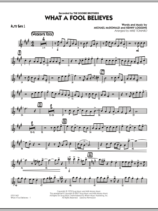What A Fool Believes - Alto Sax 1 (Jazz Ensemble)