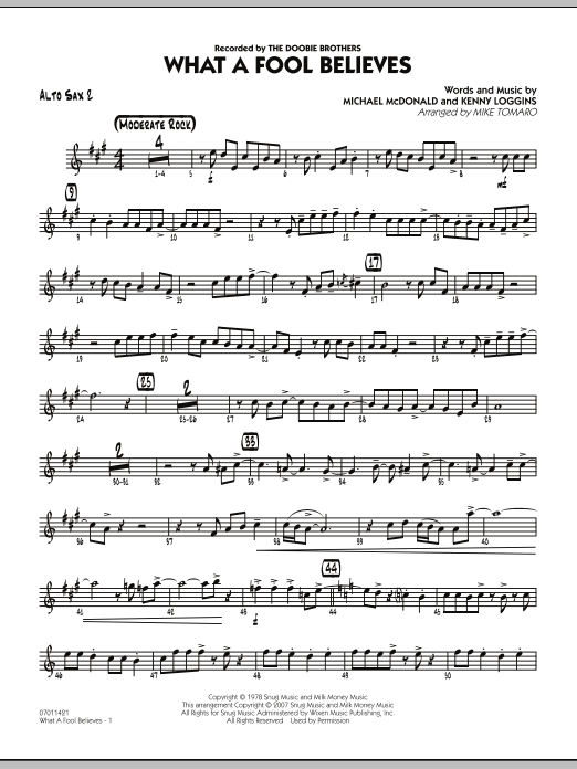 What A Fool Believes - Alto Sax 2 (Jazz Ensemble)
