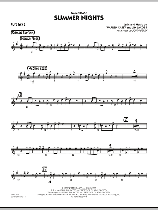 Summer Nights (from Grease) - Alto Sax 1 (Jazz Ensemble)