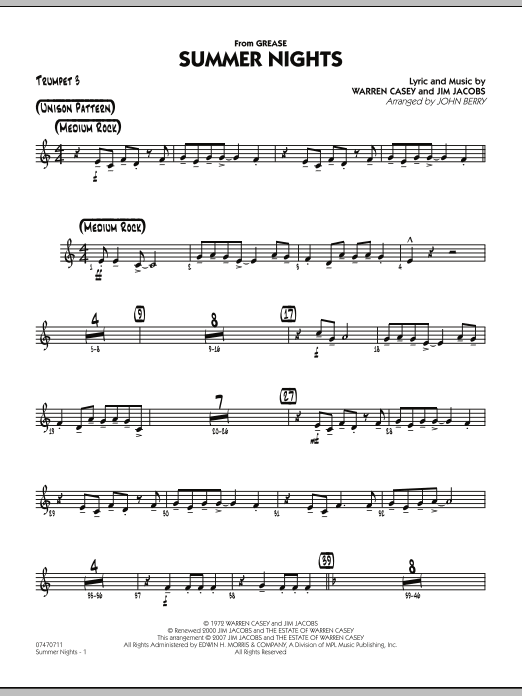 Summer Nights (from Grease) - Trumpet 3 (Jazz Ensemble)