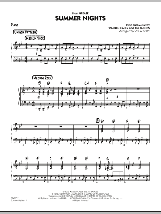 Summer Nights (from Grease) - Piano (Jazz Ensemble)