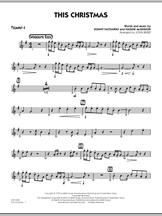 Donny Hathaway This Christmas.This Christmas Score Parts Sheet Music By Donny Hathaway Hal Leonard Prima Music