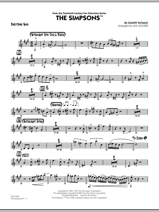 The Simpsons - Baritone Sax (Jazz Ensemble)