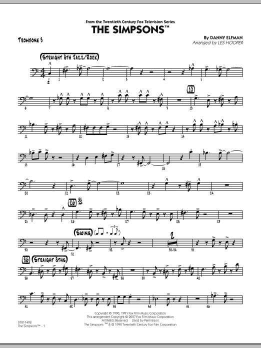 The Simpsons - Trombone 3 (Jazz Ensemble)