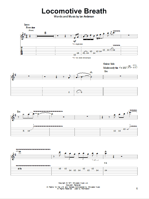 Locomotive Breath Sheet Music