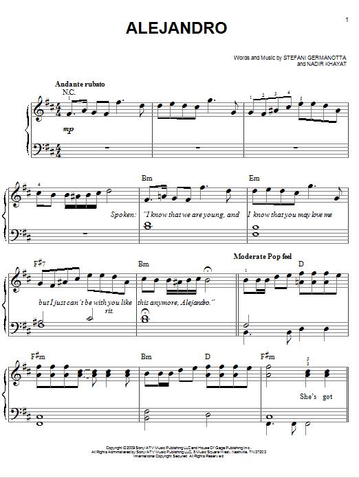 Alejandro (Easy Piano)