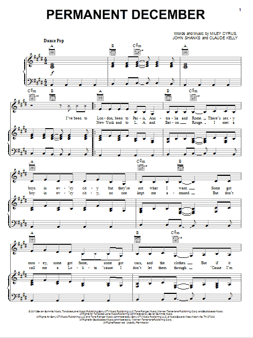 Permanent December (Piano, Vocal & Guitar (Right-Hand Melody))