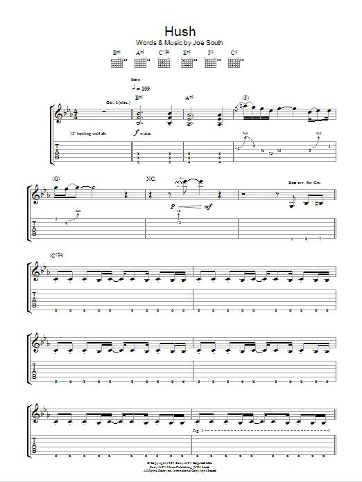 Hush Sheet Music | Deep Purple | Guitar Tab