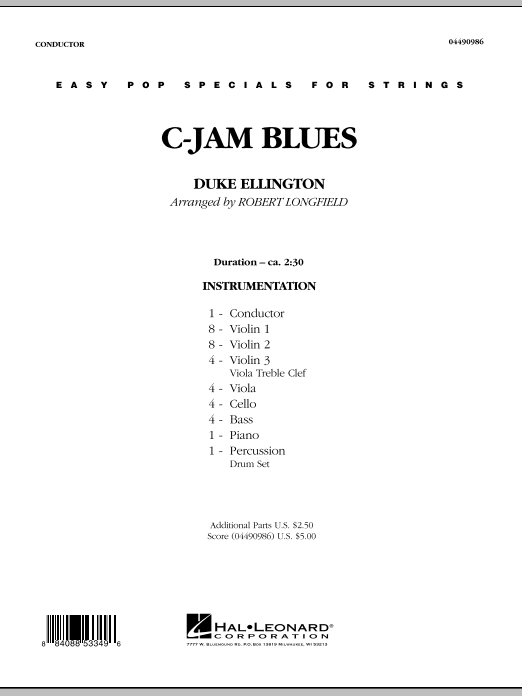 C-Jam Blues (COMPLETE) sheet music for orchestra by Duke Ellington and Robert Longfield. Score Image Preview.