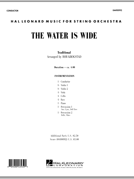 The Water Is Wide (COMPLETE) sheet music for orchestra by Bob Krogstad and Miscellaneous. Score Image Preview.