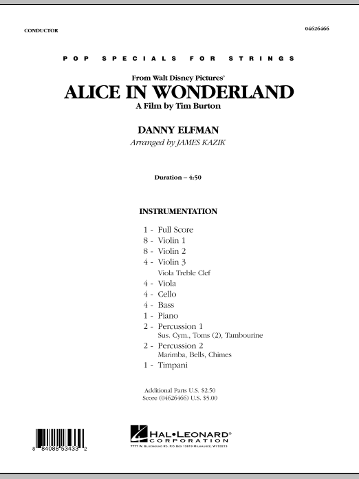 Alice In Wonderland (COMPLETE) sheet music for orchestra by Danny Elfman and James Kazik. Score Image Preview.