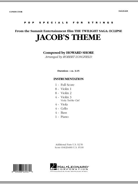 Jacob's Theme (from The Twilight Saga: Eclipse) - Full Score (Orchestra)