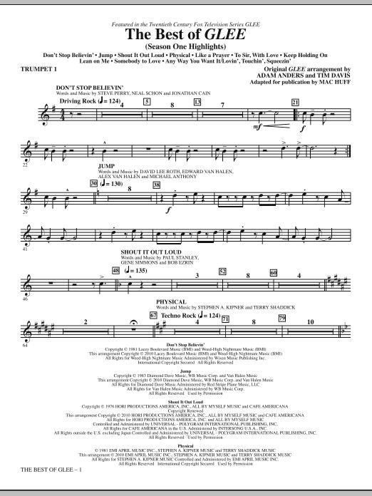 The Best Of Glee (Season One Highlights) - Trumpet 1 (Choir Instrumental Pak)