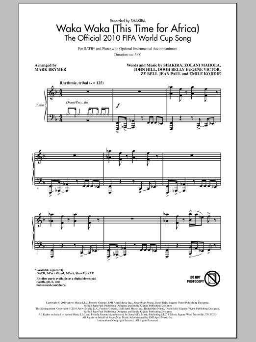 Waka Waka (This Time For Africa) - The Official 2010 FIFA World Cup Song Sheet Music