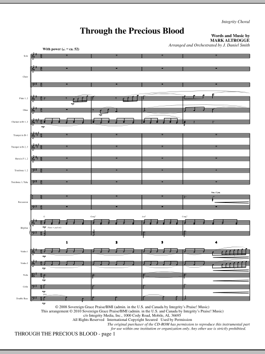 Through The Precious Blood - Full Score Sheet Music