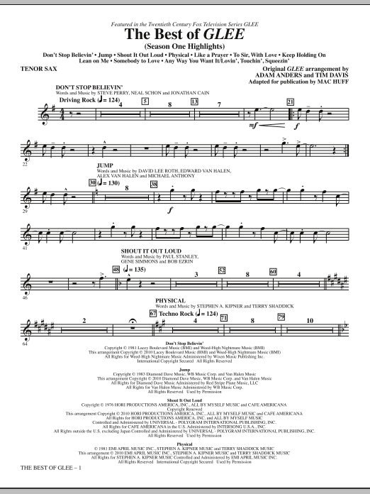 The Best Of Glee (Season One Highlights) - Tenor Sax (Choir Instrumental Pak)