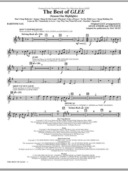 The Best Of Glee (Season One Highlights) - Baritone Sax (Choir Instrumental Pak)