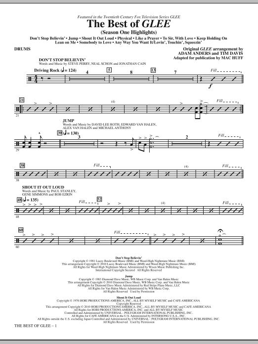 The Best Of Glee (Season One Highlights) - Drums (Choir Instrumental Pak)