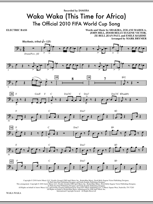 Waka Waka (This Time For Africa) - The Official 2010 FIFA World Cup Song - Bass Sheet Music
