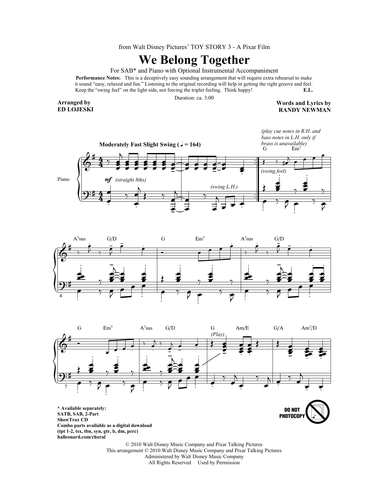 We Belong Together (from Toy Story 3) (arr. Ed Lojeski) Sheet Music