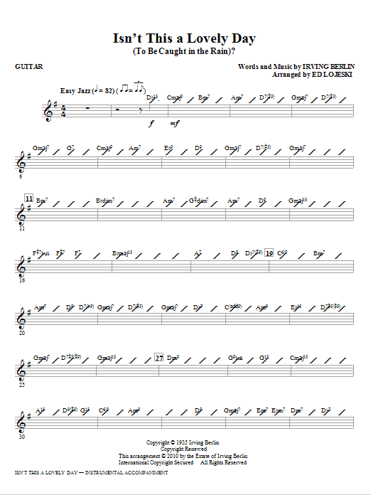 Isn't This A Lovely Day (To Be Caught In The Rain)? - Guitar (Choir Instrumental Pak)