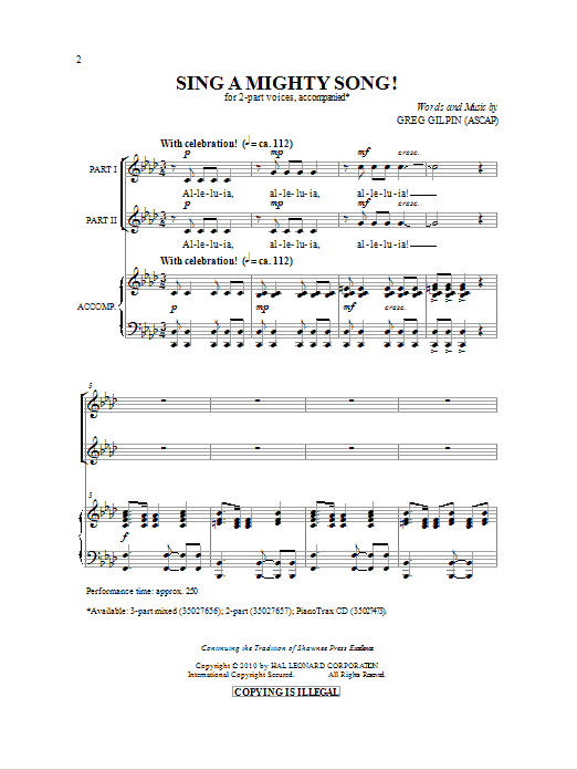 Sing A Mighty Song! Sheet Music
