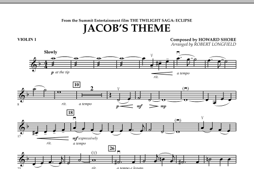 Jacob's Theme (from The Twilight Saga: Eclipse) - Violin 1 (Orchestra)