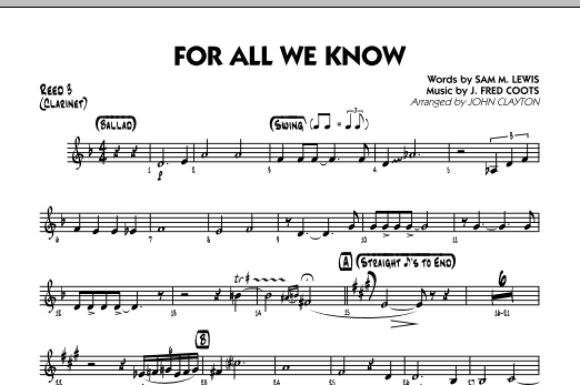 For All We Know - Reed 3 (Clarinet) Sheet Music