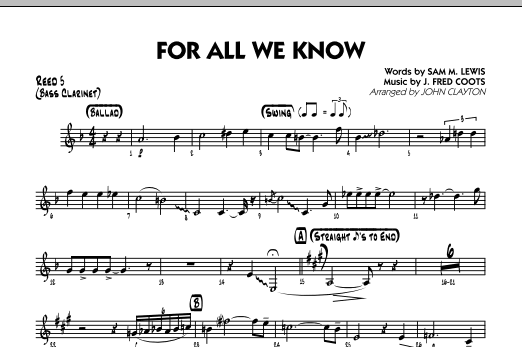 For All We Know - Reed 5 (Bass Clarinet) Sheet Music